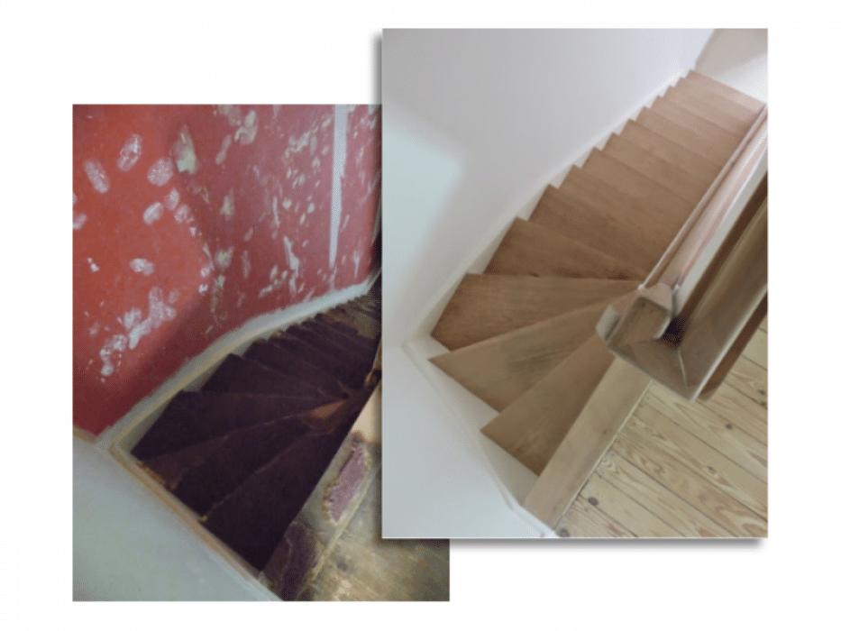 Afwerking muur en trappen