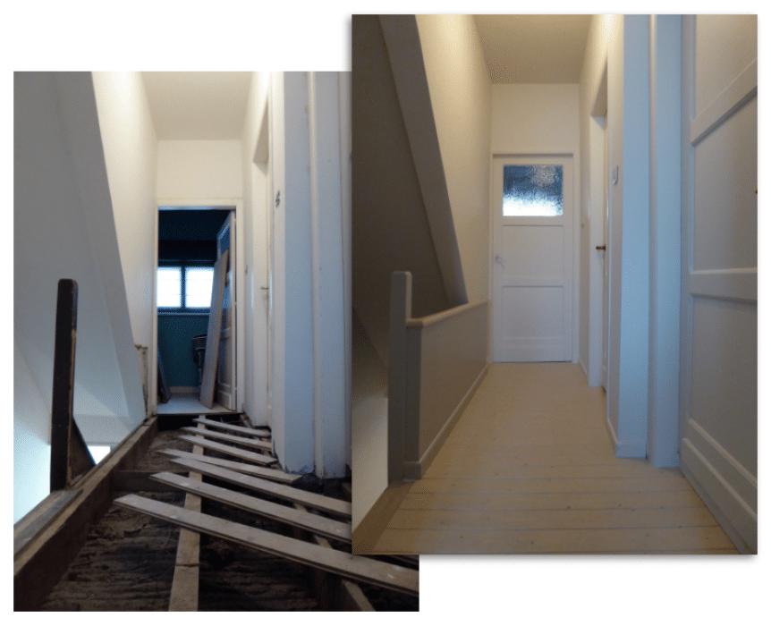 Renovatie nachtgang (vloer, wanden, plafond, deuren en trap)