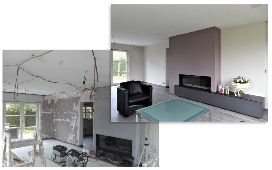 Interieur renovatie, voor en na